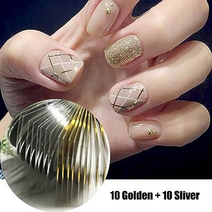 Joligel Kit Hilos Adhesivos Brillantes para Decoración de Uñas Manicura Francesa Nail Art, 10 Hilos