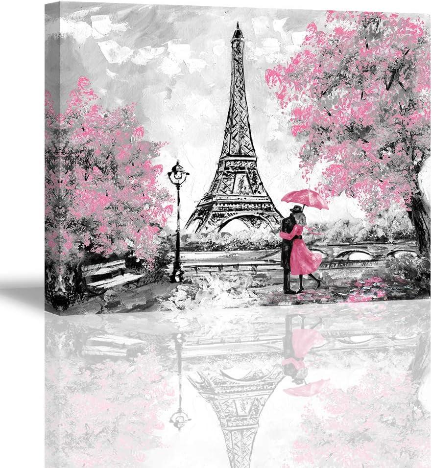 Home Wall Art Décor of A Couple Under an Umbrella On Street,Oil Painting Paris. European City Landscape. France Wallpaper Eiffel Tower. Black White and Pink Modern Art.