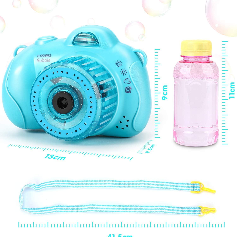 MagoFeliz Bubble Machine Elektrische Blasenmaschine Spielzeug,Tragbar Seifenblasenmaschine mit Musik und Licht Kamera F/örmige Blasenmaschine mit Lanyard-Design f/ür Kinder Geschenke,Erwachsene Blau