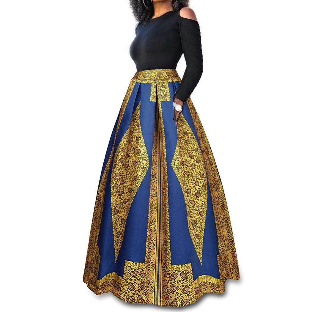 Raylans Women's African Floral Print Two Pieces A Line Long Skirt Maxi Dress Gold# 2XL