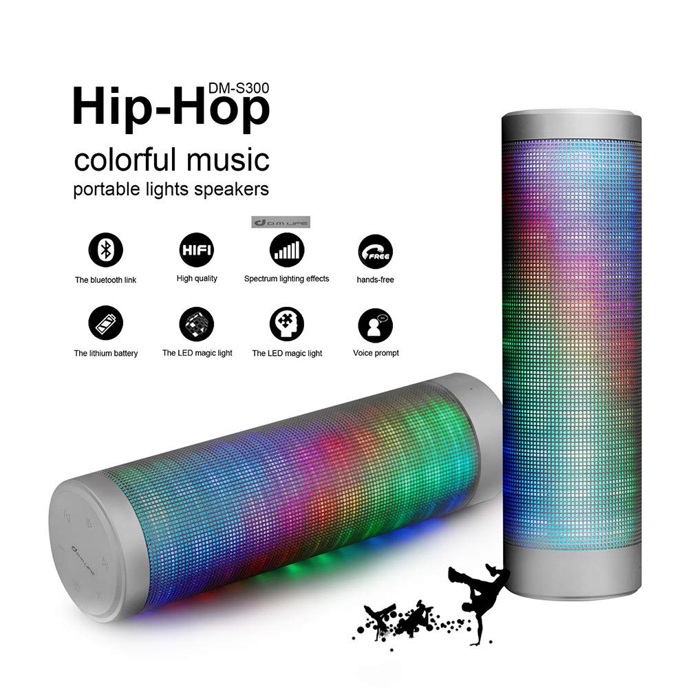 Portable Bluetooth Speakers, Sonmer LED Bluetooth Speaker with Pulsating Lights 6 Patterns Visual HD Sound and Bass, US Stock - Two-Day Shipping
