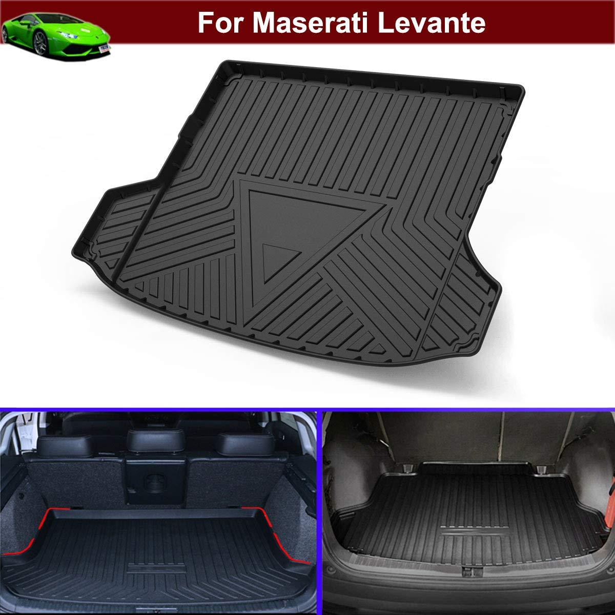 1pcs Black Rubber Car Mat Cargo Liners Car Boot Liner Cargo Mat Cargo Tray Floor Mat Cargo Cover Rear Trunk Mat Trunk Liner Tray for Maserati Levante 2017 2018 2019 2020