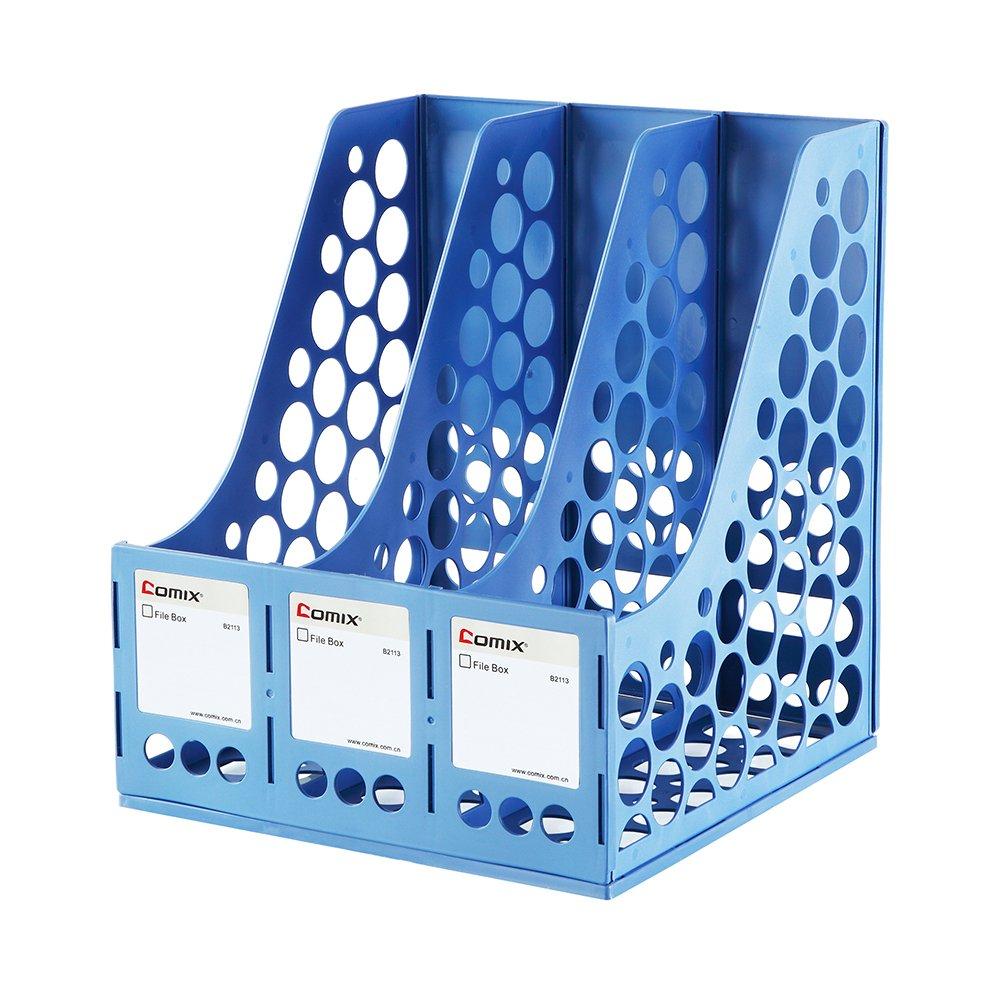 COMIX 3 Compartments Desktop File Book Magazine Sorter Holder Organizer Blue