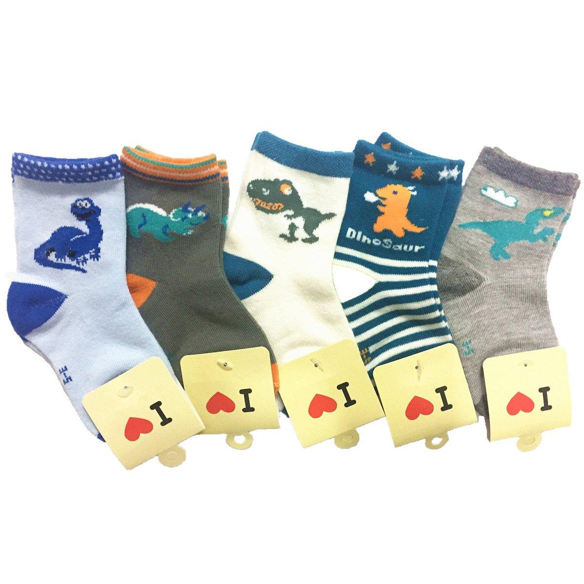 Little Boys Socks Cotton Dinosaur Comfort Crew Socks 5 Pair Pack