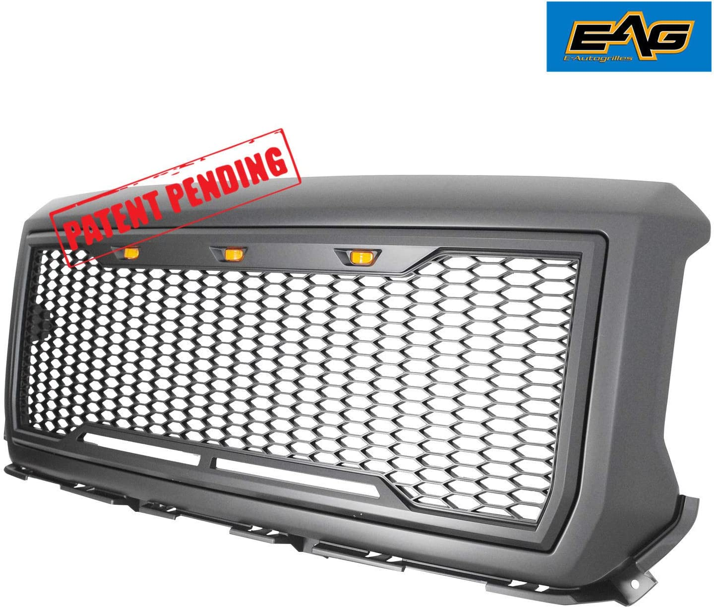 EAG Replacement Upper ABS Grille Front Hood Grill with Amber LED Lights Metalic Charcoal Gray Fit for 14-15 GMC Sierra 1500