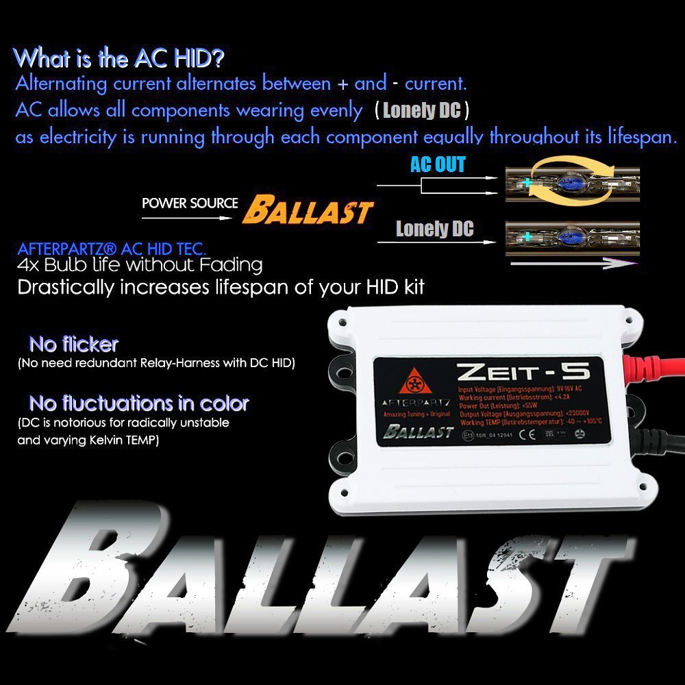 H13 9008 H L Afterpartz Ac 55w 6000k Hid Xenon Conversion Kit W Power Relay Harness Capacitors With Slim Ballast 2 Year Warranty Bulbs Ballasts