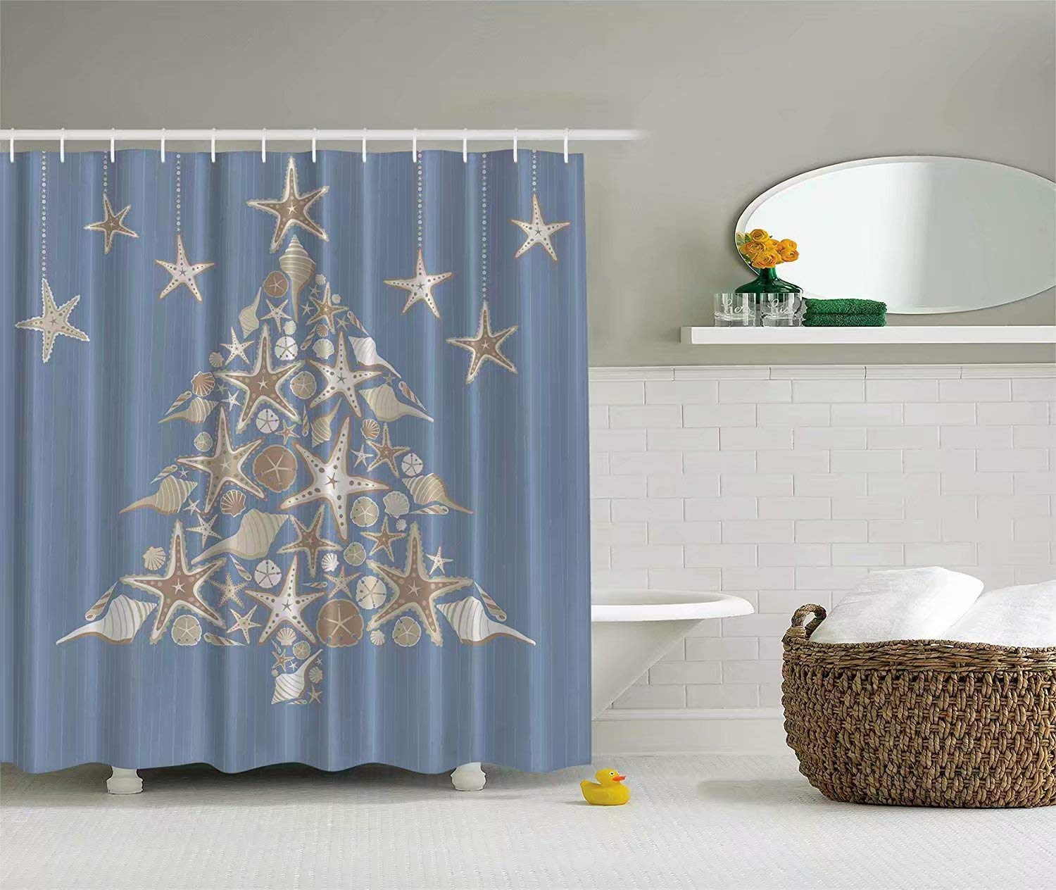 KANATSIU Blue White Seashell Beach Christmas Holiday Tree Shower Curtain,with 12 plactic hooks,100% Made of Polyester,Mildew Resistant & Machine Washable,Width x Height is 72X72