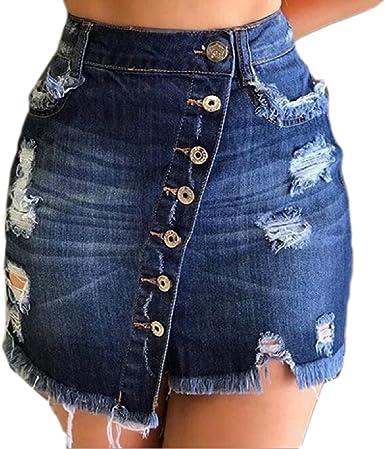 ChengZhong Mini Falda Corta de Tela Vaquera desgastada Informal ...