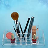 Bulfyss Premium Clear Acrylic 11 Sections Jewellery & Cosmetic Storage Display Boxes Double Layer Beauty Vanity Jewellery Clear Acrylic Make up Cosmetic Display Stand and Organizer Rack