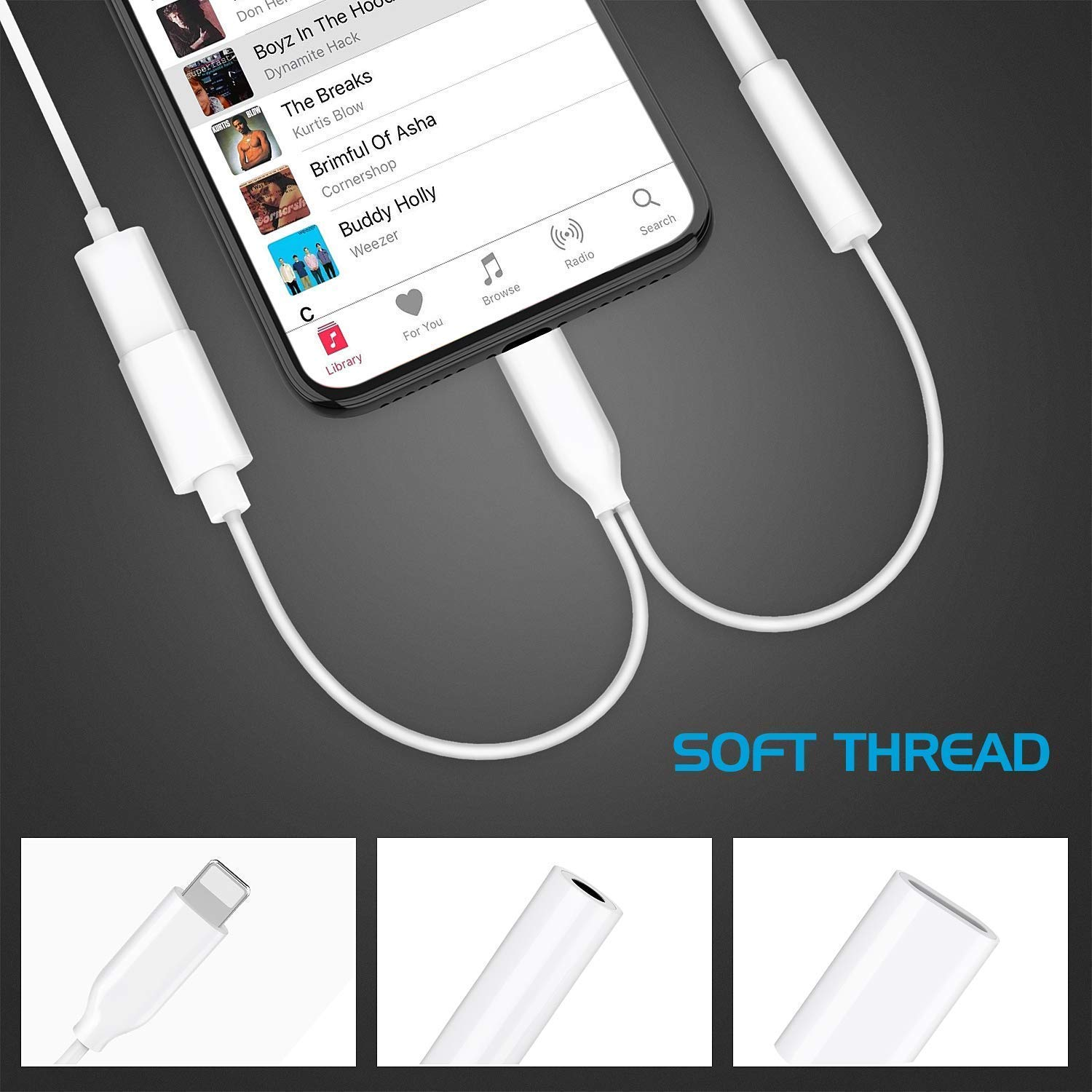 Headphone Adapter for iPhone Adapter Aux Audio to 3.5mm 2 in 1 Jack Cables Dongle for iPhone 7 Earphone Splitter Adapter for iPhone 8 Plus//X//XR//Xs Music and Charging Compatible Support All iOS-White