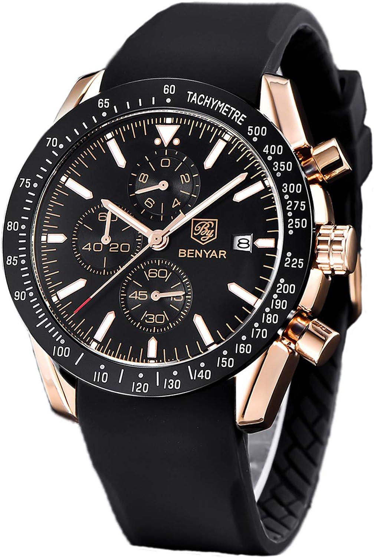 BENYAR - Reloj de Pulsera para Hombre, Estilo Casual, Acero Inoxidable, Resistente al Agua