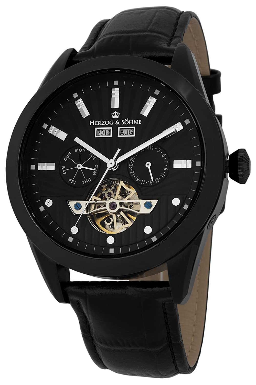Herzog & SÖhne Herren-Armbanduhr XL Analog Automatik Leder HS512-622