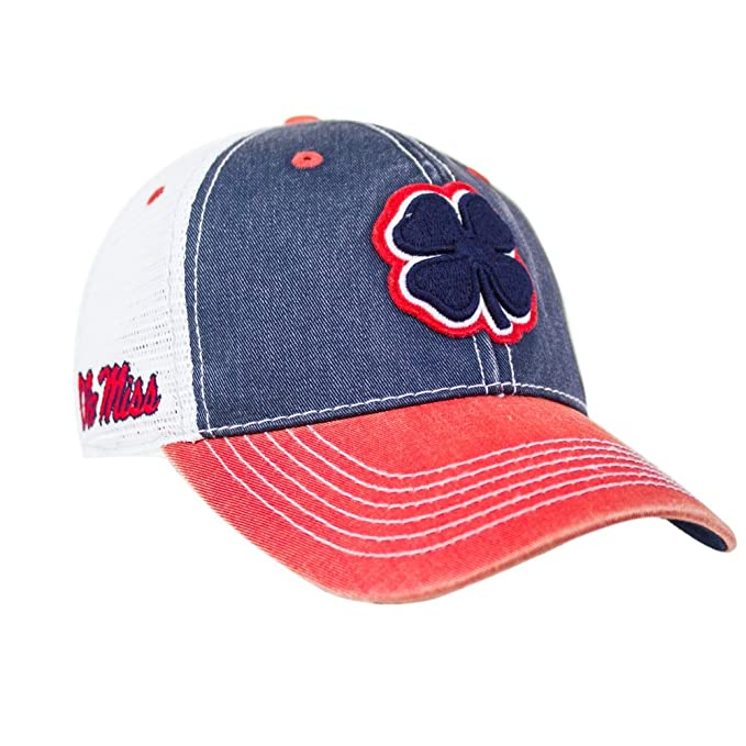 50987d808f4 Black Clover Navy White Red Ole Miss 2 Tone Vintage Snapback Hat at ...
