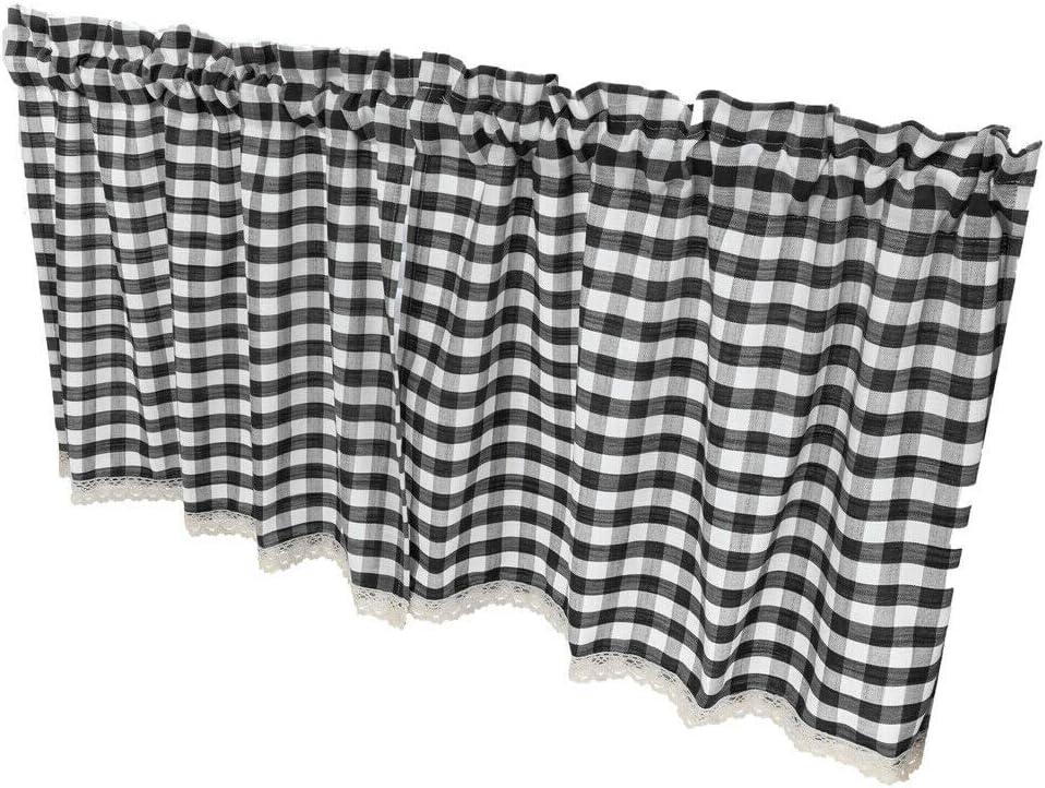 Amazon Com Window Treatments Hardware Check Plaid Gingham Window Curtain Valance Farmhouse Kitchen Curtains 51x16 Color Black Home Kitchen