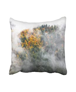 Emvency Yellow Austria Autumn Fog in Mountains Austrian Alps Beautiful Beauty Color Europe Fall Foggy Foliage Throw Pillow Covers 16x16 Inch Decorative Cover Pillowcase Cases Case Two Side