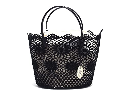 borsetta donna nero con pizzo