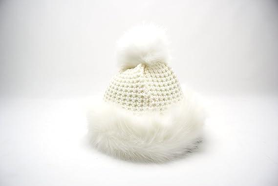 383cb955 LADIES WOMENS FAUX FUR RUSSIAN FUR POM POM BEANIE STYLE COSSACK WINTER HAT  (WHITE): Amazon.co.uk: Clothing