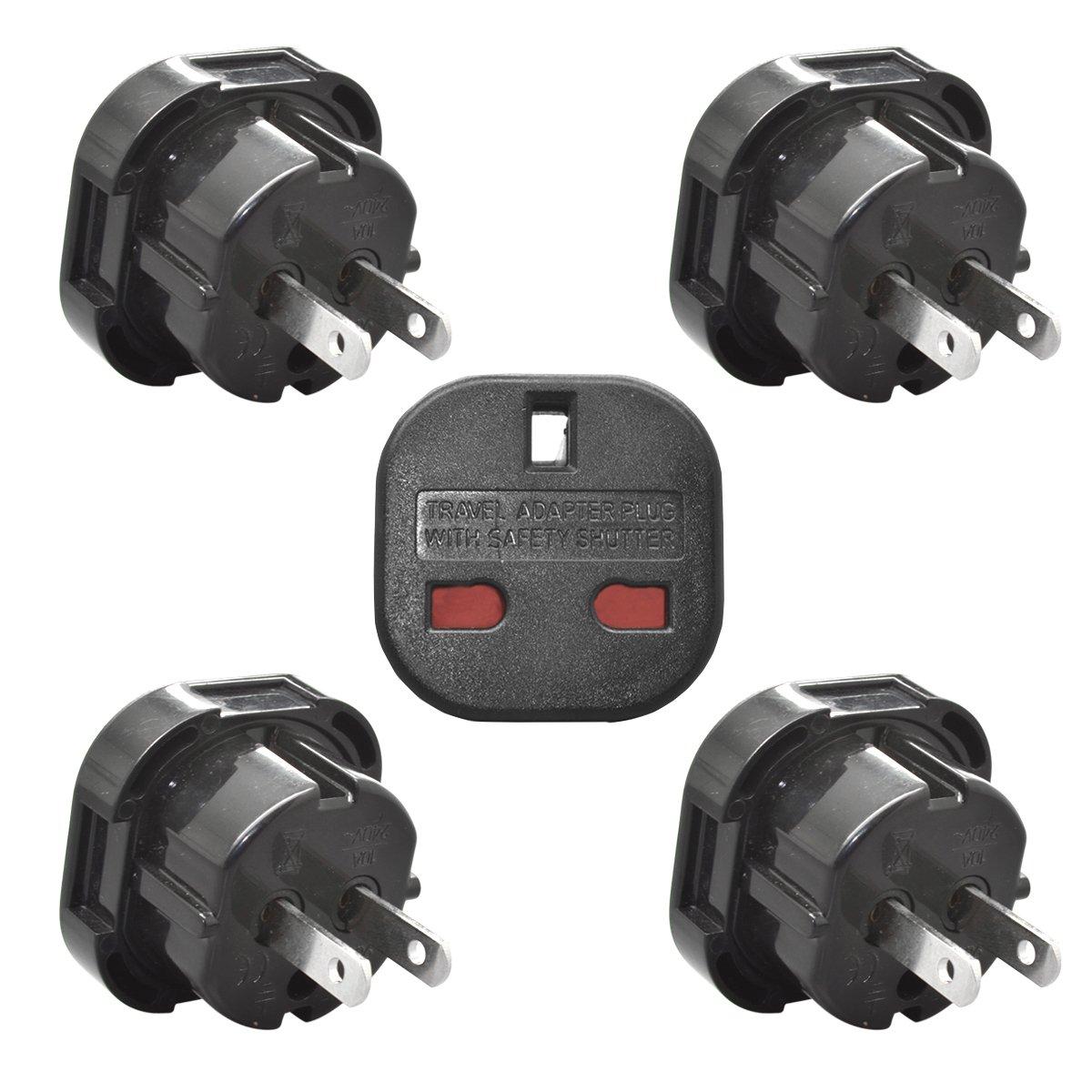 Yuadon UK British to US American Australia Newzealand Travel Power Adapter Plug-Black,Pack of 5