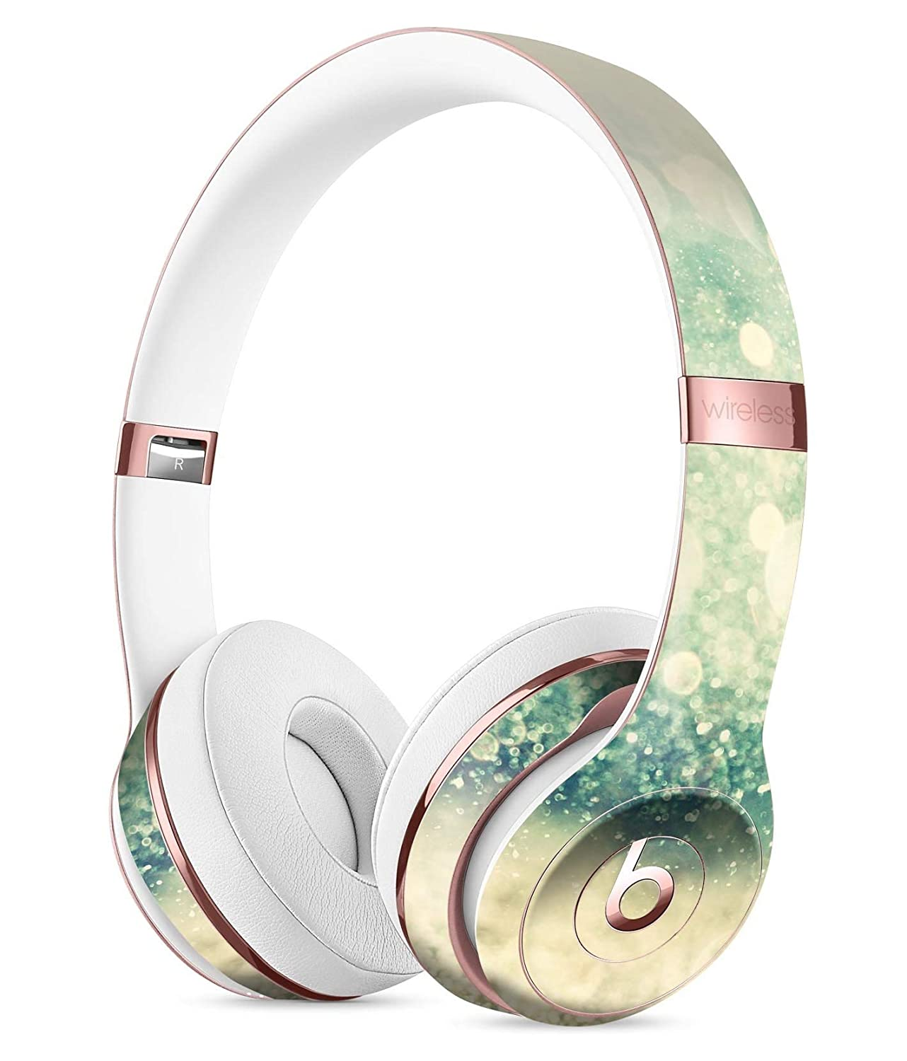Teal and Gold Unfocused Orbsのライトdesignskinz全面スキンキットfor the Beats by Dre Solo 3ワイヤレスヘッドフォン/超薄型/マットFinished /保護スキンラップ   B01N3UP8V6