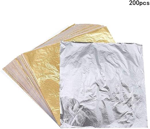 100x Oro//Plata//Lámina de Cobre Hojas Papel Alimentos Cocina Decoración Dorada