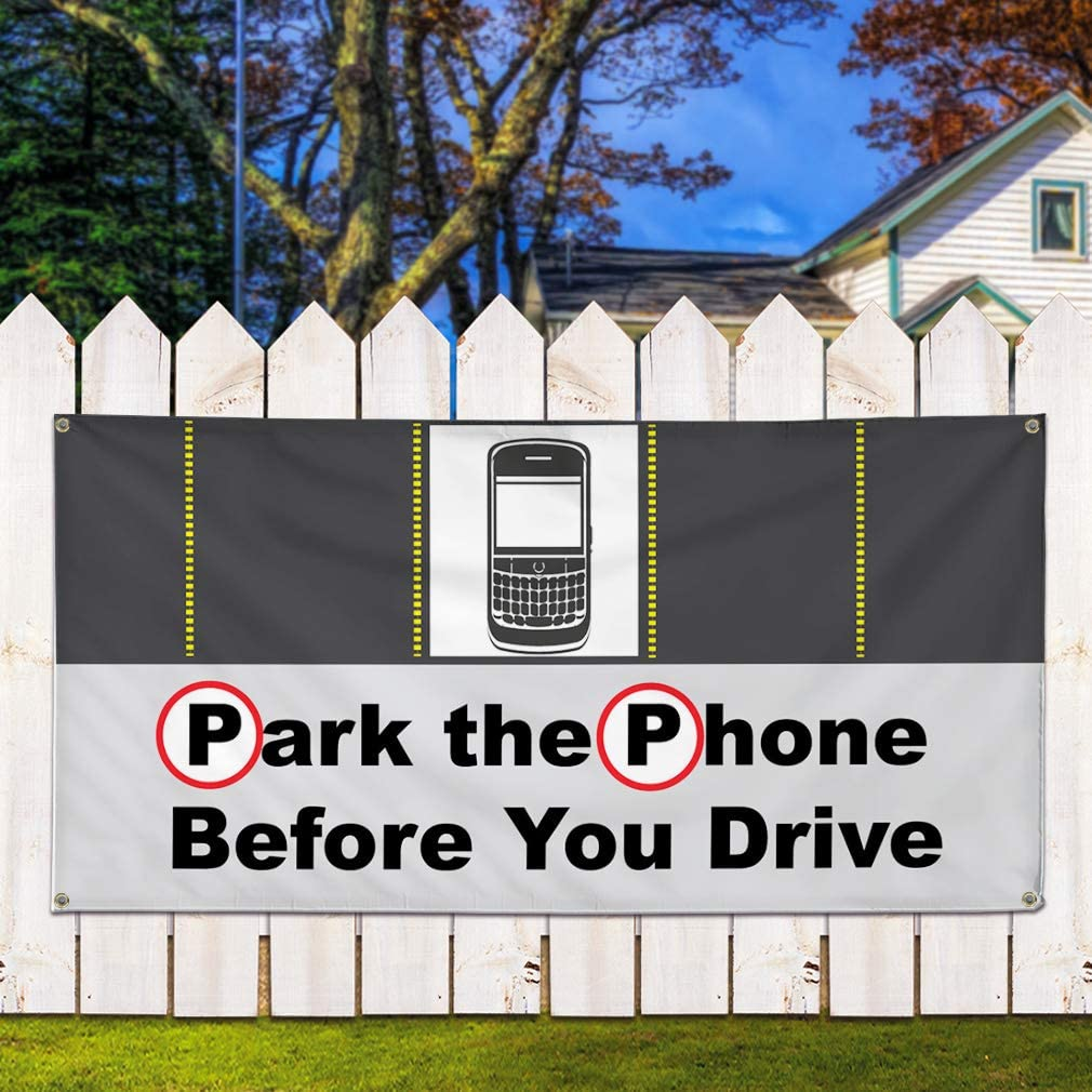 Multiple Sizes Available 28inx70in Set of 2 Vinyl Banner Sign Park The Phone Before You Drive Business Marketing Advertising Black 4 Grommets