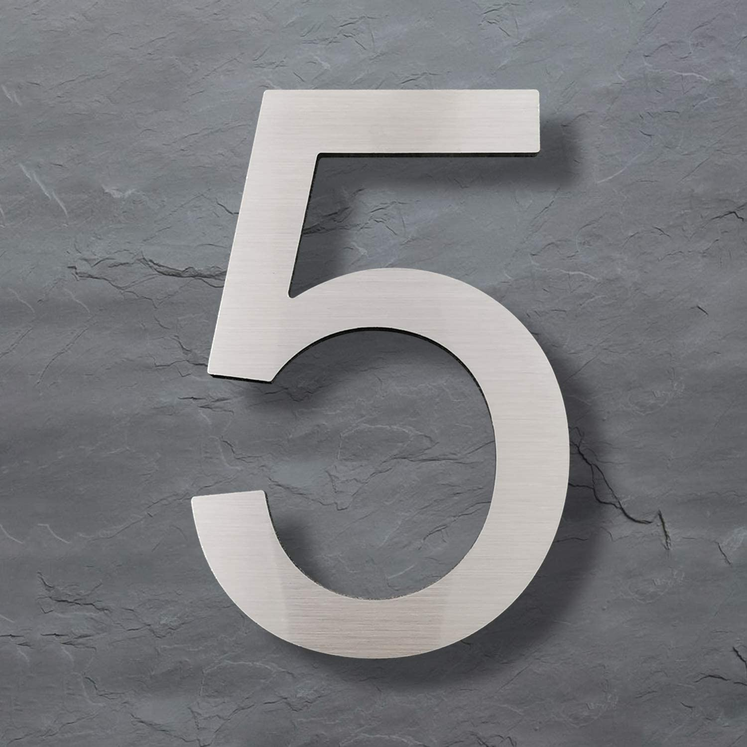 Modern House Numbers-5 Inch Solid Stainless Steel Street Address Number- Elegant Floating Appearance/Easy to Install, number 5