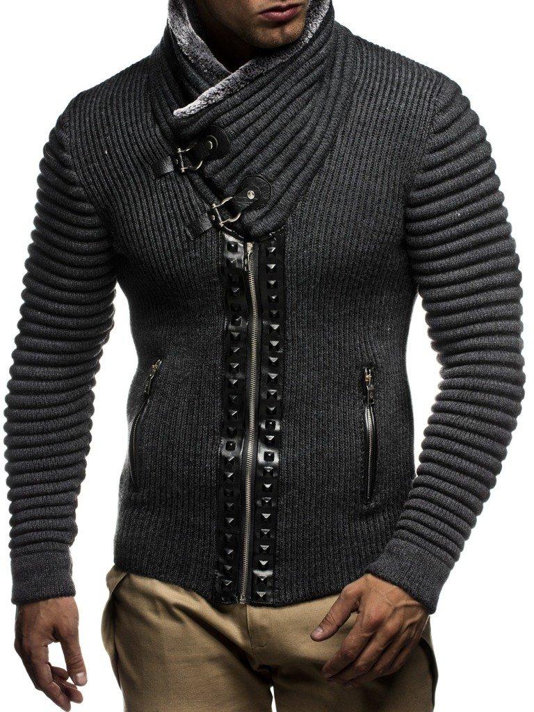 Leif nelon LN5165 Mens Cardigan With Stud Details and Zip Front,Anthracite Black,US-M,EU-L