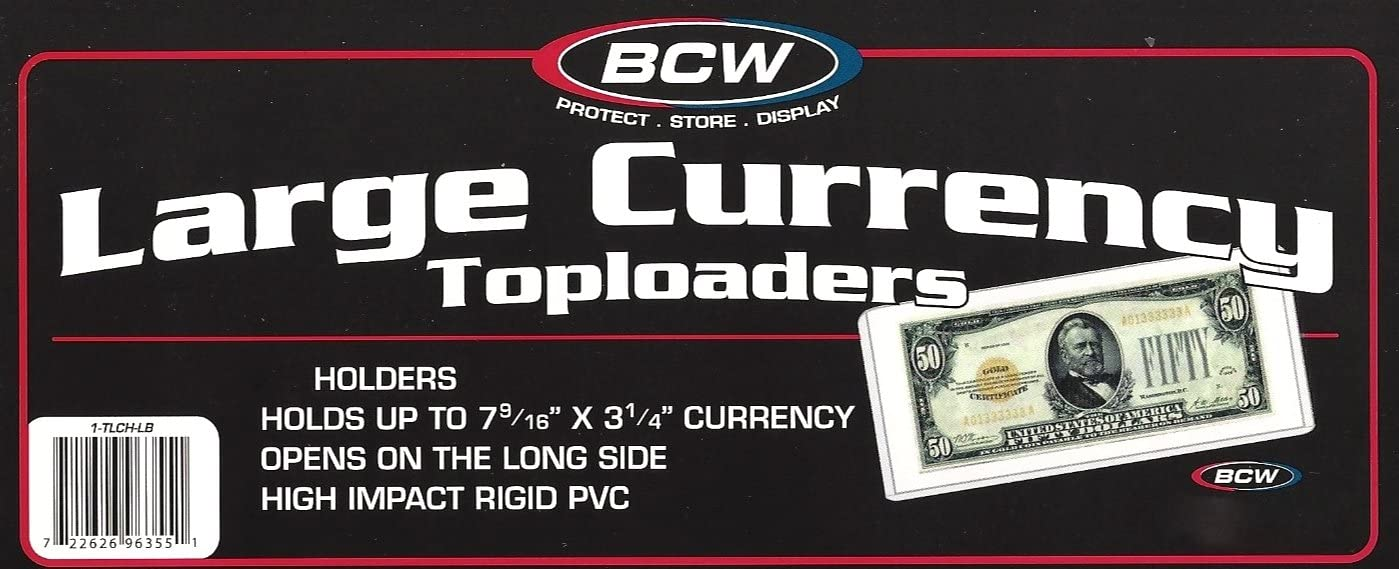 RIGID 100 LARGE BILL CURRENCY TOPLOADERS NOTES HOLDS 7-9//16 X 3-1//4 CURRENCY