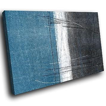 AB1601C gerahmte Leinwanddruck Bunter Wand-Kunst - Blau Schwarz Weiß ...