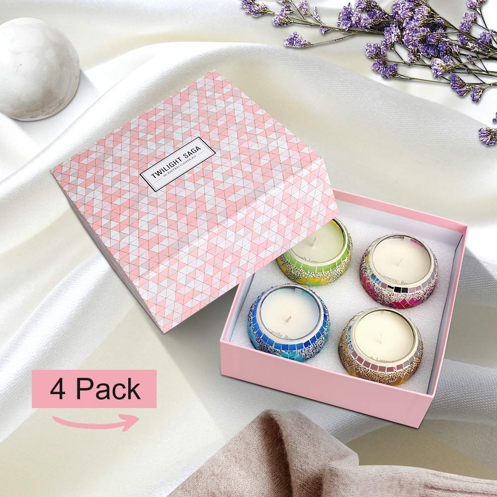 Scented Candles Gift Set 4 Pack, Mosaic Design 4.4 Oz Natural Soy Wax Portable Travel Aromatherapy Candles,Perfect for Daughter Girlfriend Wife Mother, Birthday, Holiday Gift by Y YUEGANG