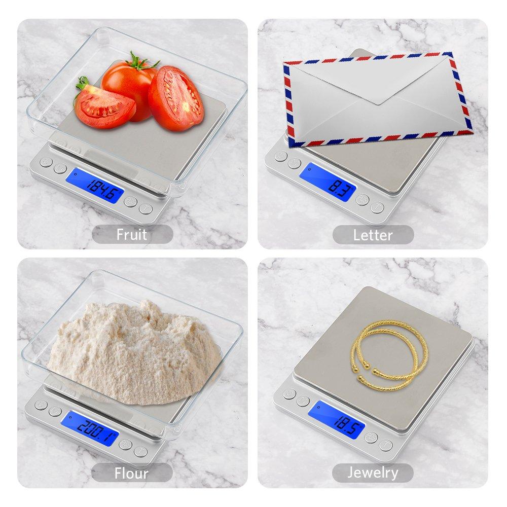 VADIV B/áscula Digital Mini para Cocina 3kg//0.1g KS01 Balanza de Cocina de Acero Inoxidable Funci/ón Auto Tara y Calibraci/ón Autom/ática con Resoluci/ón de 0,01g