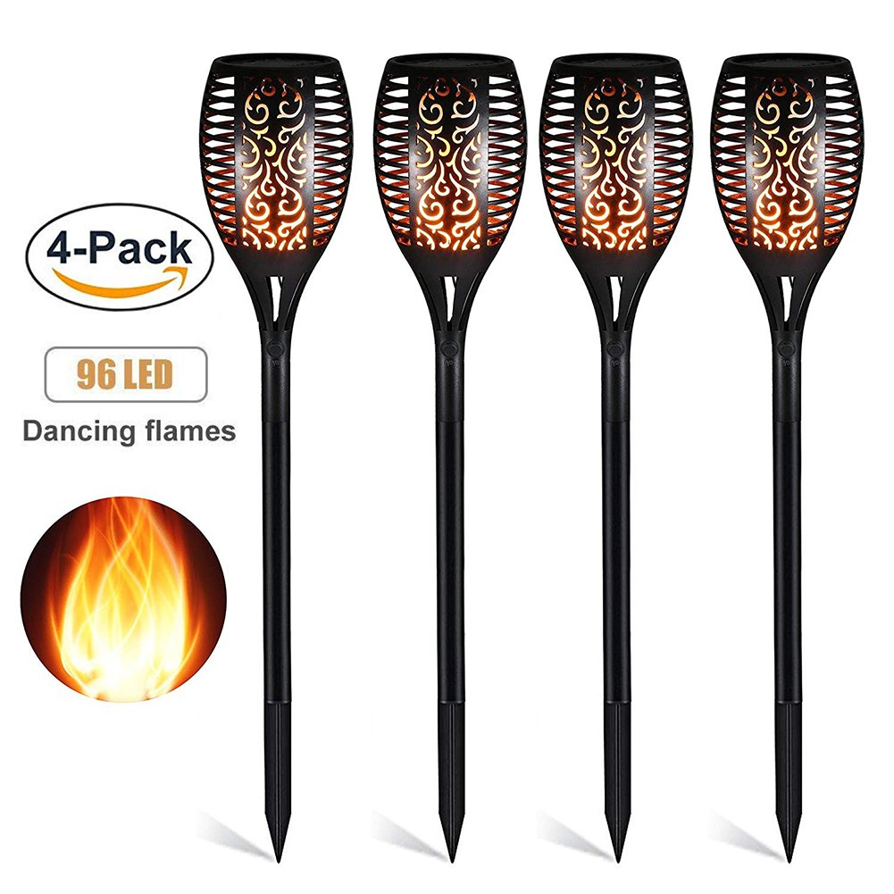 Ethradia Solar Torch Lights-Solar Lights Outdoor With Waterproof Flickering Flames Torch Lights Solar Light Outdoor Security Path Light for Garden Patio Deck Yard Driveway (4PC)