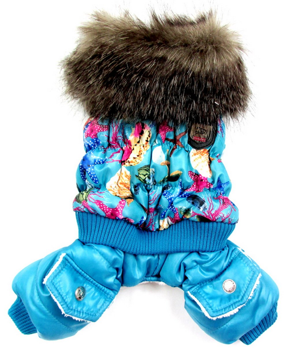 PETLOVE Starfish Animal Print Small Dog Clothes Dog Winter Coat Fleece Lined Dog Jumpsuit Purple S