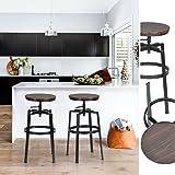 Innovareds®, Set di 2 sgabelli da bar, stile vintage industriale, in legno e metallo, altezza regolabile, girevoli