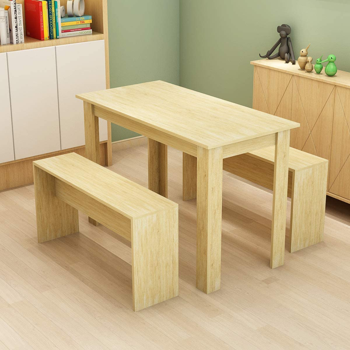 Bespivet 3 Piece Dining Room Set Wooden Dining Table And 2 Benches Set Oak Kitchen Furniture For Small Space 4 People Timber Garden Table Set Amazon Co Uk Kitchen Home