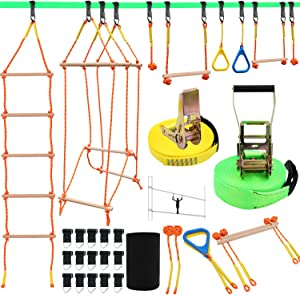 """Ninja Warrior Obstacle Course for Kids, Slackline Kit 50' with 8 Accessories - Monkey Bars, Gymnastics Rings, 68"""" Rope Ladder, Bridge Obstacle - Ninja Line Training Equipment for Backyard Outdoor"""