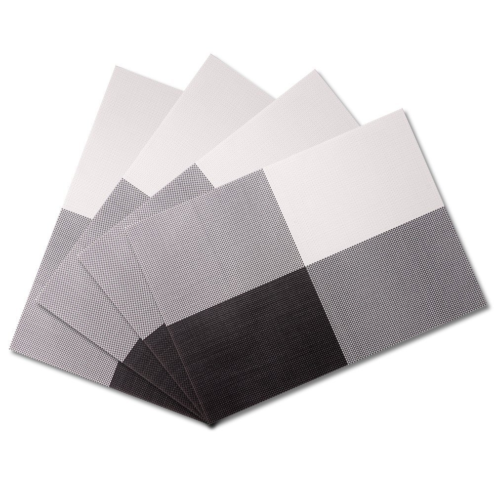 (Black/White) - Placemats, Reachs Woven Vinyl Placemats, Washable Insulation Mats for Dining Table Set of 4  ブラック/ホワイト B01KZS0VCI