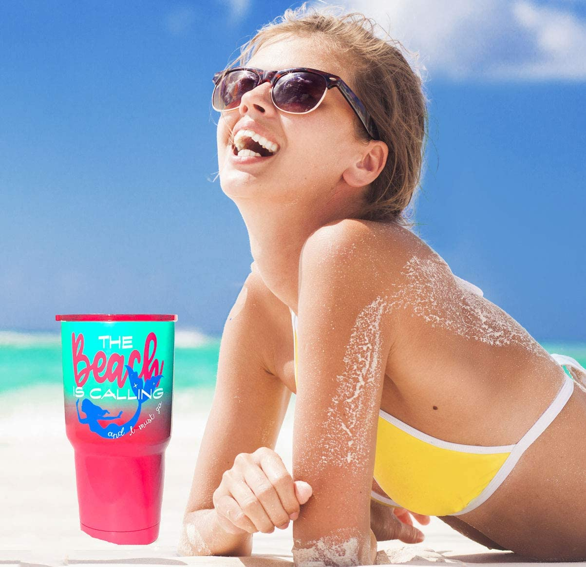 Fun Pretty Beach Life Theme Vacation Drink Hot and Cold Sea Foam Teal Dipped Ombre Beach is Calling Mermaid Travel Tumbler Cup Women Vacuum Insulated Stainless Steel Pink Lid Pink Coral