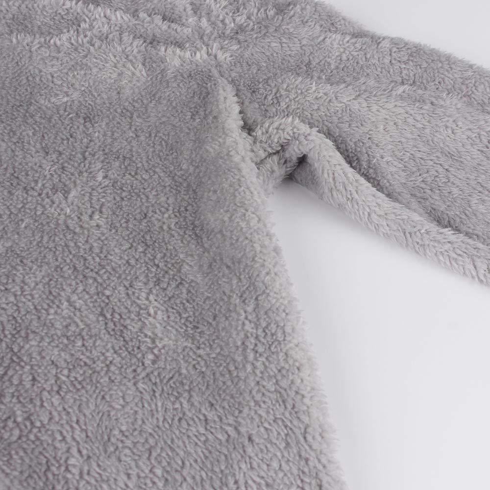 Sttech1 Women Winter Warm Hooded Fluffy Long Sleeve Sweater Blouse Pullover Top Gray S-XL
