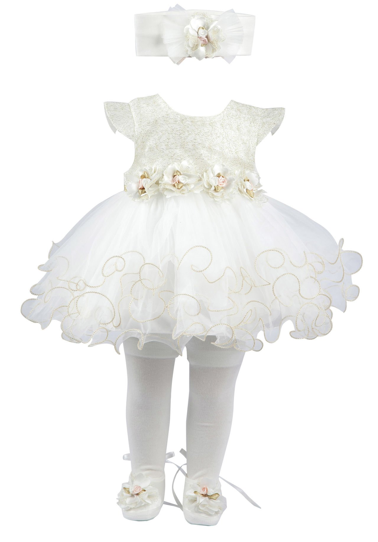 Taffy Baby Girl Newborn Gold Glitter Floral Dress Gown 6, White, Size 0-3 Monhts by T.F. Taffy