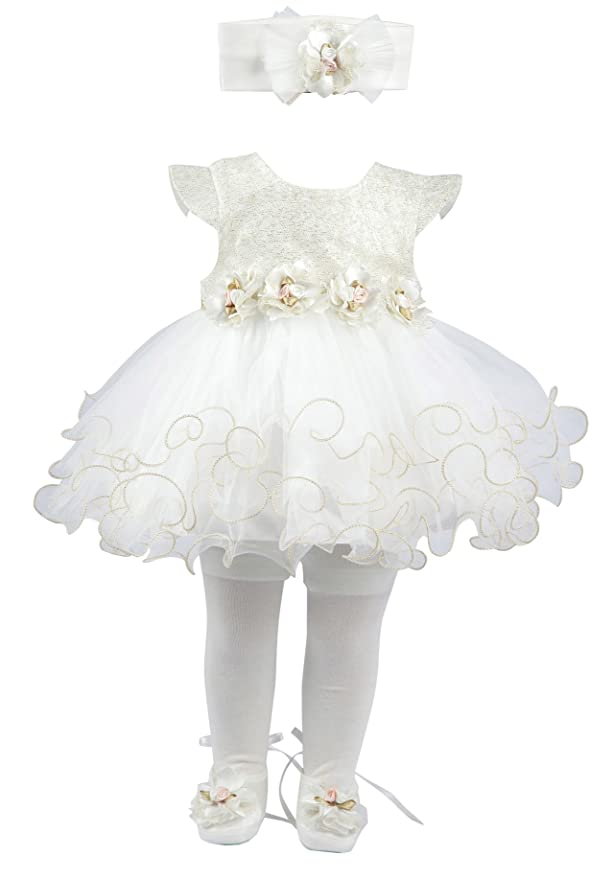 4d3fa17edc Amazon Taffy Baby Girl Newborn Gold Glitter Floral Dress Gown 6 Piece  Deluxe Set 0 3