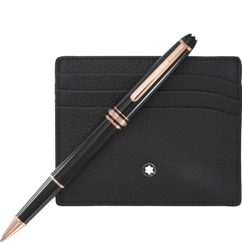 Montblanc Meisterstuck Black Rollerball Pen & Pocket Holder 6CC Set 114121 by MONTBLANC