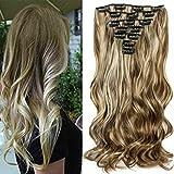 """22""""Full Clip Tête dans les Extensions de Cheveux Ombre Wavy Curly Dip Dye 7pcs Mix Blond Chatain"""