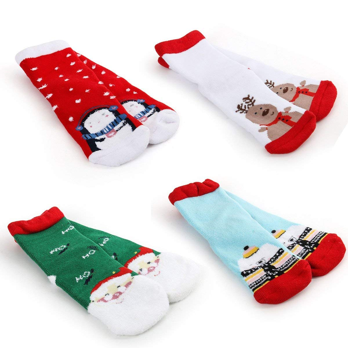 f50665cae08 Amazon.com  Unisex Baby Toddler Kids Socks Boys Girls Cute Xmas Gift  Holiday Socks 4 Pairs