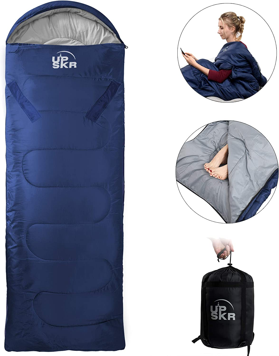 UPSKR Sleeping Bag Lightweight & Waterproof for Adults & Kids Cold Weather,3-4 Season Envolope Sleeping Bags Great for Indoor & Outdoor Use Hiking Backpacking Camping Traveling with Compression Sack