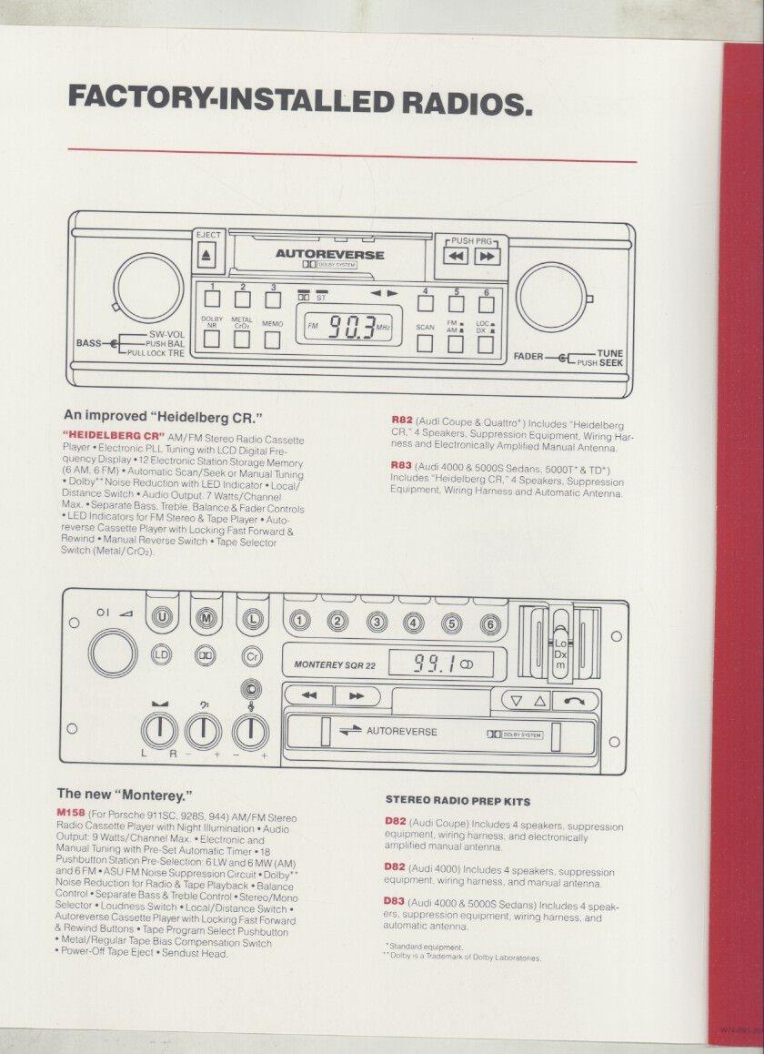 1983 Porsche Audi Blautunkt Radio Brochure Heidelberg Coupe Wiring Diagram Frankfurt Monterey Entertainment Collectibles