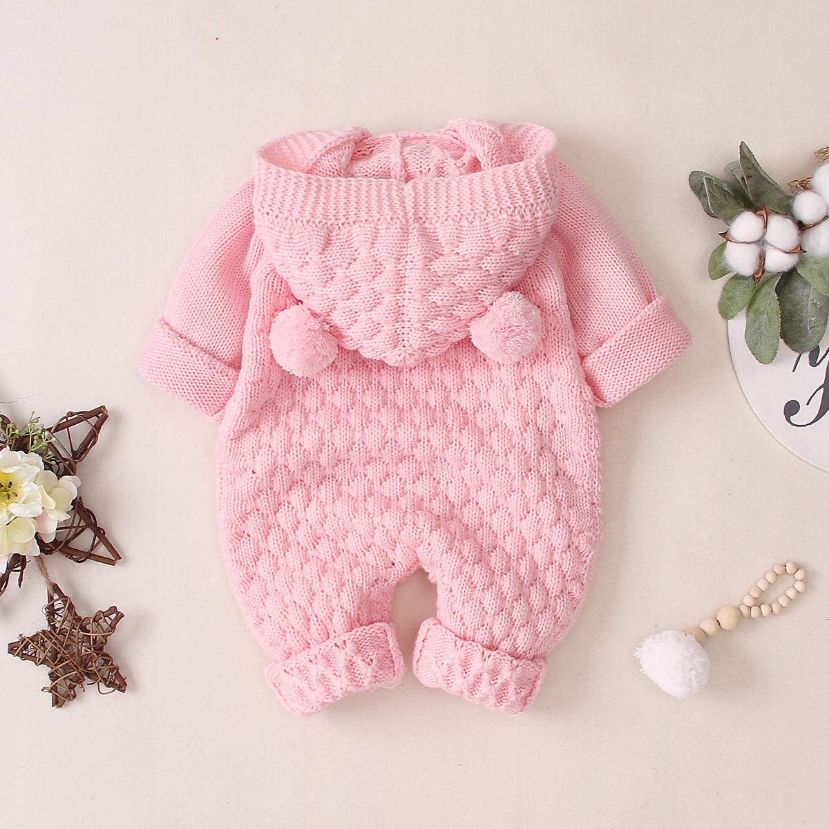 Camidy Infant Baby Boy Girl Knitted Hoodie Bear Ear Hooded Jumpsuit Overalls Bodysuit