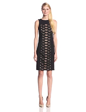 BCBGMAXAZRIA Women's Leona Lace Cocktail Dress, Black, X-Small