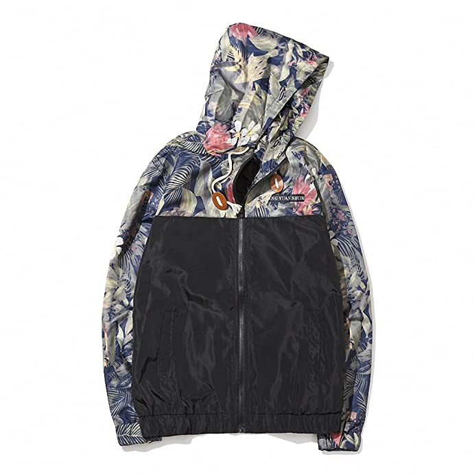 Korean Style Men Jacket Coat Floral Print Hooded Windbreaker Male Jacket NEW Spring Summer Clothing Mens Jackets and Coats 3XL Gray XXL at Amazon Mens ...
