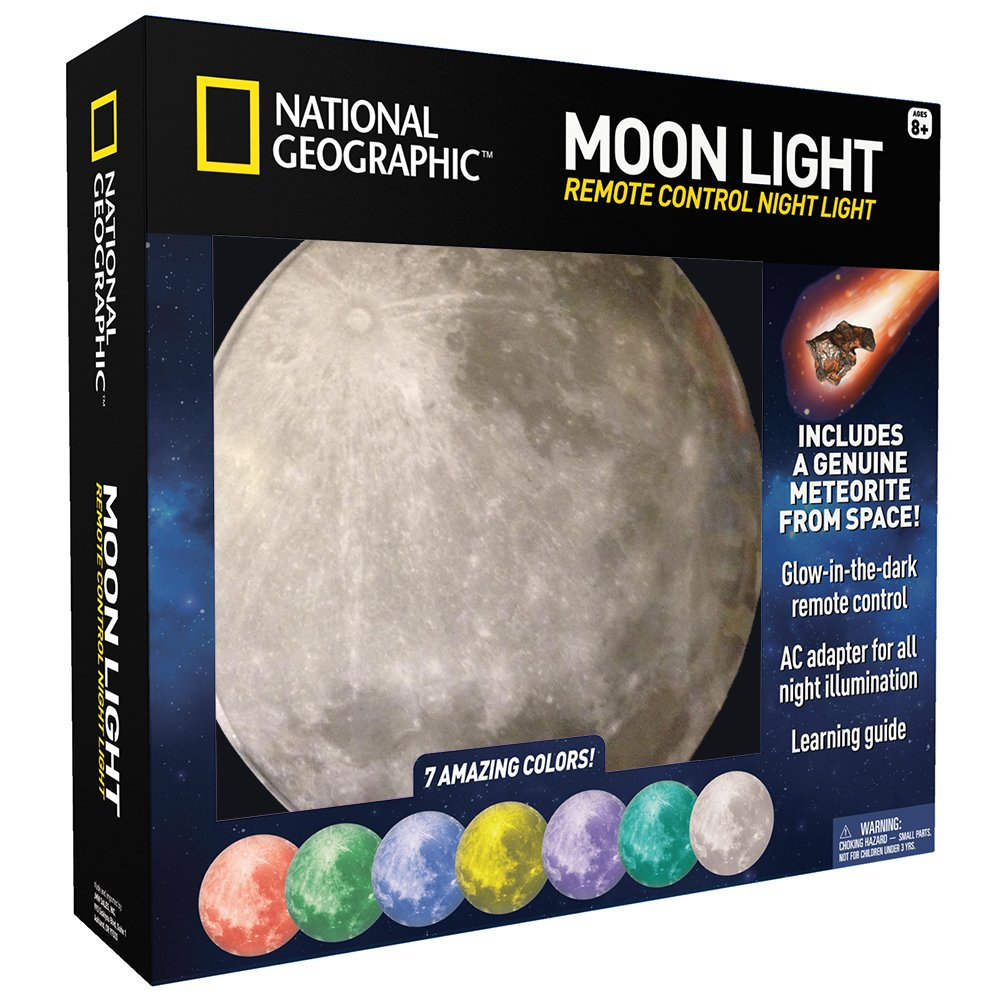 NATIONAL GEOGRAPHIC Moon Night Light for Children with AC adapter and Sleep Timer – Realistic 3D Moon Face Glows with 7 Awesome Color Settings! Comes with a 1-year Manufacturer's Warranty Discover with Dr. Cool NGMOONLIGHT